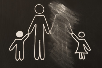 broken family on a blackboard