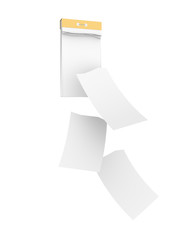 White empty tear-off calendar with three detached sheets