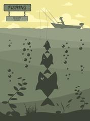 Fishing on the boat. Fishing design elements