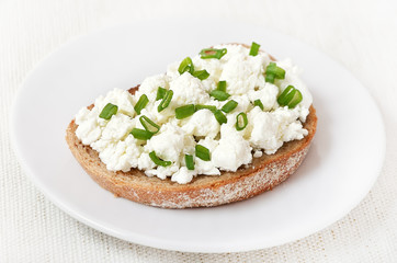 Appetizer with curd cheese and green onion