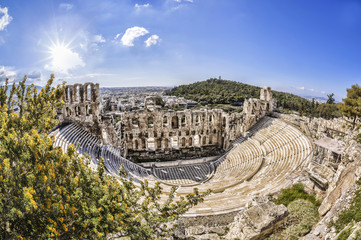 Odeon theatre in Athens, Greece, view from Acropolis