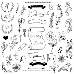 Hand Drawn Doodle Ampersands, Curves, Book Corners, Dividers