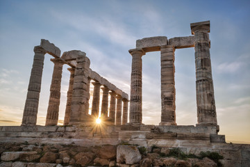 Greek temple Poseidon,  Cape Sounion in Greece