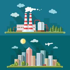 Set of flat design - urban landscape illustrations including dow