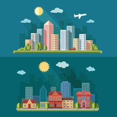 urban landscape illustration set. big city, a metropolis street