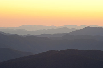 Layers of sunrise mountains in the Smokies.
