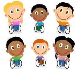 Wheelchair children character vector pack