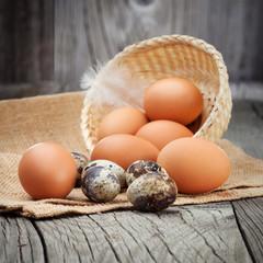 Fresh eggs on a table