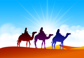 Foto auf Leinwand Durre Colorful Group of Arab People with Camels Caravan Riding