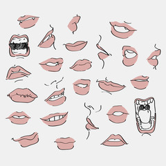 set of lips with design element