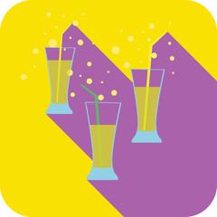 Three glasses cocktails flat design stylized