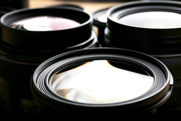 Set of modern camera lenses, macro view
