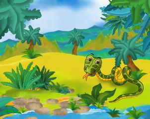 Cartoon scene - wild south america animals - snake - caricature - illustration for the children