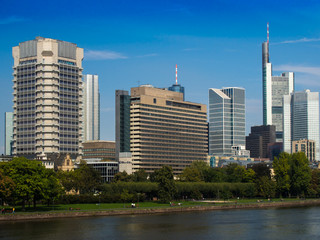 Wall Murals Texas The skyline of Frankfurt, Germany, at the River Main