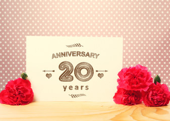 20 years anniversary card with pink carnations