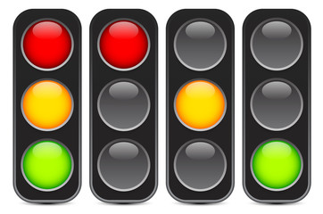 Traffic light, signal, semaphore or control lights vector illust