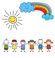 kids, sun and rainbow