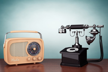 Old Style Photo. Vintage Telephone and Radio