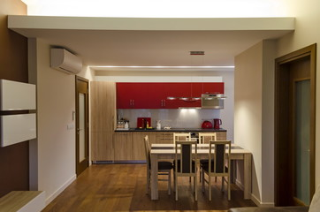 Living room and kitchen site  with modern LED lighting
