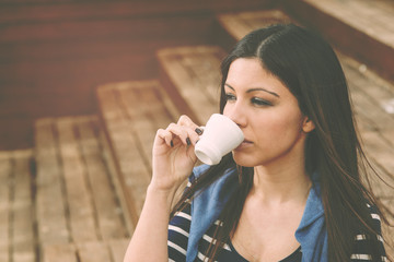 drinking a coffee warm filter applied