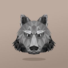 Animal Portrait With Polygonal Design. Wolf