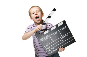 boy with clapperboard upper part