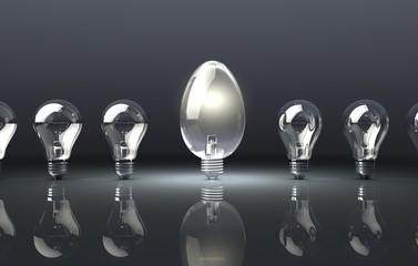 Egg Shaped Light Bulb on Dark Background