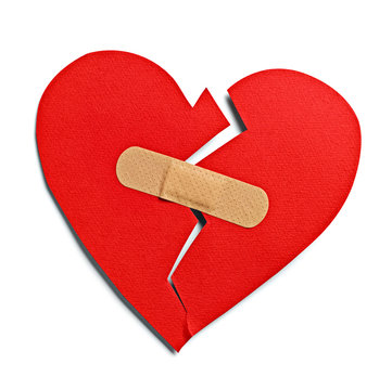 heart shape love bandage hurt