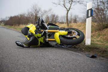 Verunfalltes Motorrad - Motorradunfall