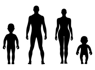 Full length front human silhouette set