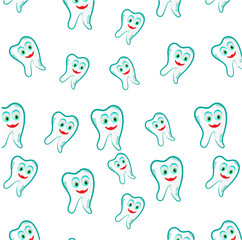 Seamless pattern with blue, smiling teeth on white background