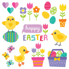 cute spring and easter design elements