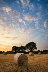 Printed kitchen splashbacks Beige Rural landscape image of Summer sunset over field of hay bales