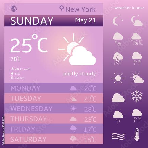 Vector Weather Widget Template  Weather Icon Set
