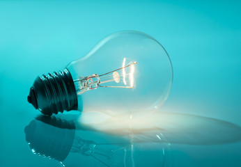 Wireless Light Bulb on Blue background