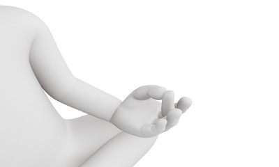 3D man perform meditation as yoga isolated with white background