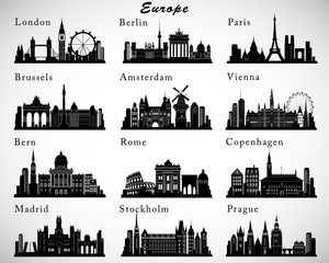 European Cities skylines set. Vector silhouettes