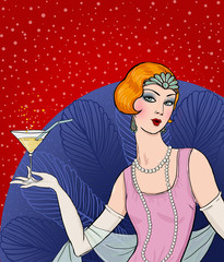 Art deco woman with glass.