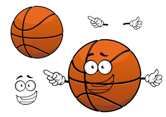 Cartoon happy basketball ball mascot character