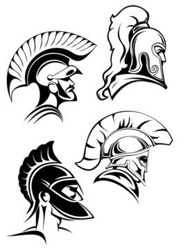 Outline spartan warriors or gladiators heads
