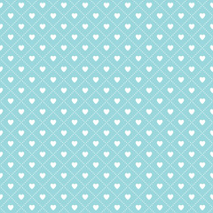 cute seamless hearts lattice background pattern aqua white