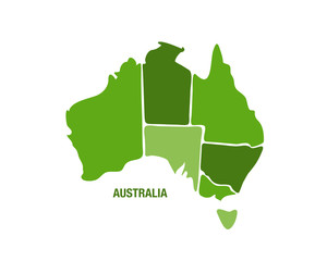 Australia map in green color