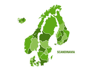 Scandinavia map in green