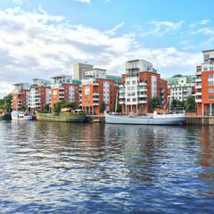 Modern residential neighborhood in Stockholm