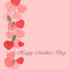 Mothers Day greeting card with hearts