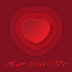 Mothers Day card with heart and contours