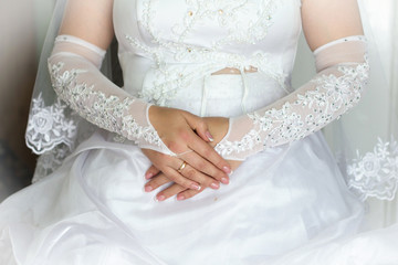 Caucasian  hands with wedding rings