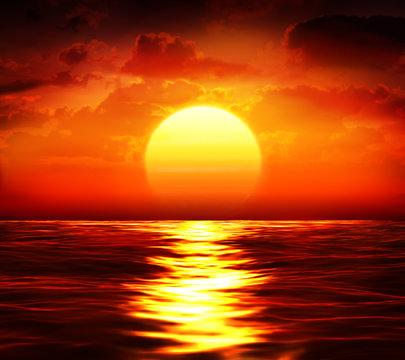 big sunset over sea - summer theme