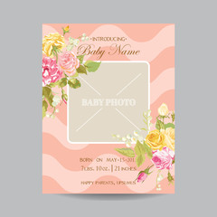 Baby Arrival Card with Photo Frame - Blossom Flowers Theme