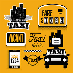 Set of vector retro design element for taxi.